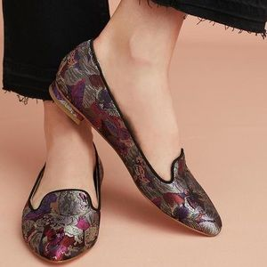 Anthropologie Butterfly Brocade Loafers Flats